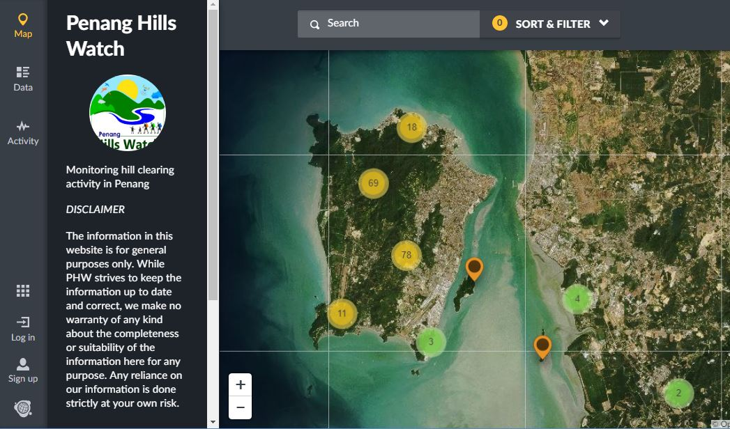 Penang Hills Watch; Raising awareness about hill clearing activities in Malaysia – Ushahidi
